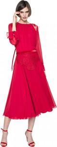 Sukienka ANETA KRĘGLICKA X L'AF z długim rękawem midi z okrągłym dekoltem