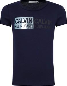 Granatowa koszulka dziecięca Calvin Klein z krótkim rękawem z jeansu