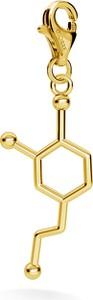 GIORRE SREBRNY CHARMS DOPAMINA, WZÓR CHEMICZNY 925 : Kolor pokrycia srebra - Pokrycie Żółtym 24K Złotem