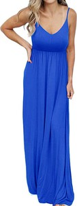Niebieska sukienka Arilook maxi prosta na ramiączkach