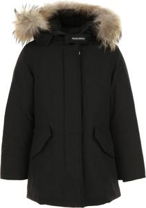 Czarny płaszcz dziecięcy Woolrich z bawełny