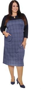 6507be9915 Modne Duże Rozmiary. 6264. Niebieska sukienka modneduzerozmiary.pl z  okrągłym dekoltem dla puszystych midi