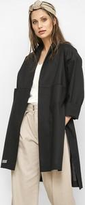 Czarny płaszcz Freeshion w stylu casual z lnu
