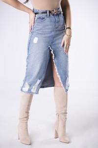 Niebieska spódnica Ptakmoda.com z jeansu midi