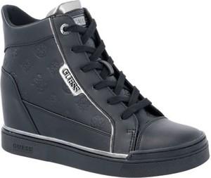 Czarne buty sportowe Guess ze skóry