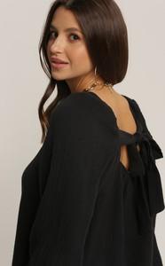 Czarna bluzka Renee w stylu casual z okrągłym dekoltem z długim rękawem
