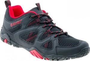 Granatowe buty trekkingowe Hi-Tec sznurowane ze skóry