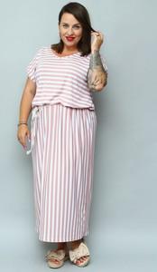 Sukienka KARKO z dzianiny maxi z krótkim rękawem