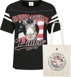 T-shirt Pinko z okrągłym dekoltem z krótkim rękawem