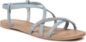 Granatowe sandały BASSANO w stylu casual z klamrami