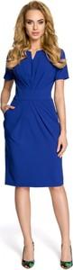Niebieska sukienka MOE midi z dekoltem w kształcie litery v dopasowana