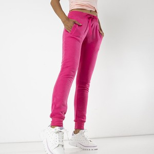 Różowe spodnie sportowe Royalfashion.pl z dresówki
