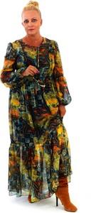 Sukienka Roxana - sukienki z długim rękawem z szyfonu