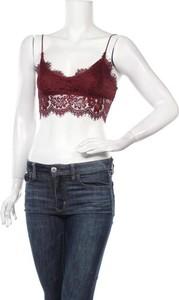 Czerwona bluzka Topshop Petite z okrągłym dekoltem