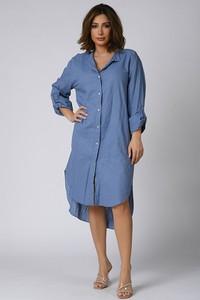 Niebieska sukienka Plus Size Company z dekoltem w kształcie litery v koszulowa