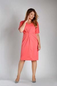 Różowa sukienka Nommo z krótkim rękawem z bawełny z dekoltem w kształcie litery v