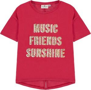 Czerwona koszulka dziecięca Tom Tailor dla dziewczynek z krótkim rękawem