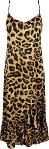 Brązowa sukienka NA-KD z dekoltem w kształcie litery v w stylu casual na ramiączkach