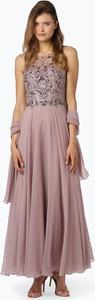 Różowa sukienka Unique maxi w stylu glamour