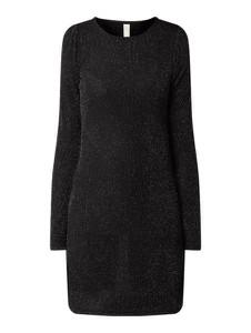 Czarna sukienka YAS z okrągłym dekoltem prosta z długim rękawem