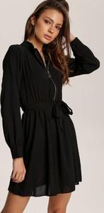 Czarna sukienka Renee mini z dekoltem w kształcie litery v z długim rękawem