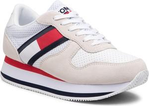 Buty sportowe Tommy Jeans na platformie sznurowane ze skóry
