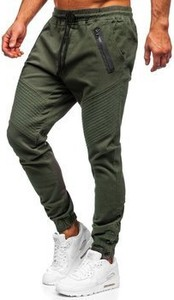 Zielone jeansy Denley z bawełny w stylu casual