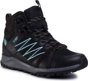 Czarne buty trekkingowe The North Face z płaską podeszwą sznurowane ze skóry ekologicznej