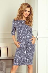 Niebieska sukienka NUMOCO w stylu casual z okrągłym dekoltem z jeansu