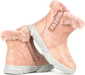 Różowe buty dziecięce zimowe Royalfashion.pl dla dziewczynek na zamek