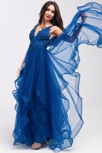 Sukienka Butik Ecru z tiulu asymetryczna