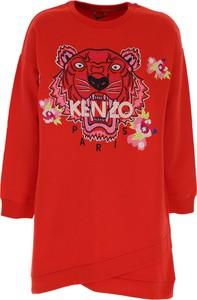 Czerwona sukienka dziewczęca Kenzo z bawełny