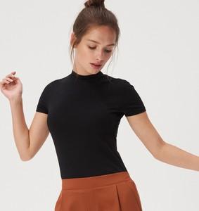 Czarny t-shirt Sinsay z bawełny w stylu casual z krótkim rękawem