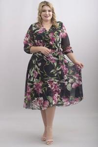 Sukienka KARKO z długim rękawem z szyfonu midi