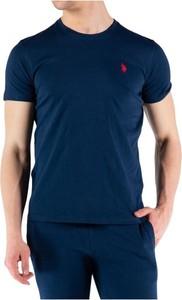 Niebieski t-shirt U.S. Polo z bawełny