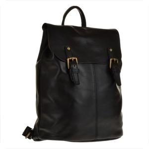 Genuine leather skórzany plecak czarny z klapą, skóra cielęca najwyższej jakości