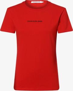 Czerwony t-shirt Calvin Klein z krótkim rękawem w stylu casual