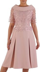 Sukienka POLSKA z tkaniny z krótkim rękawem