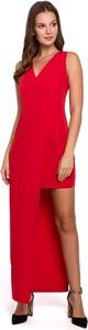 Sukienka Merg maxi asymetryczna na ramiączkach