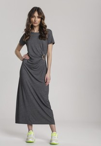 Czarna sukienka Renee z okrągłym dekoltem z krótkim rękawem prosta