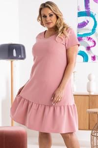 Różowa sukienka KARKO trapezowa w stylu casual z tkaniny