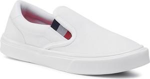 eobuwie.pl Tenisówki TOMMY HILFIGER - Lightweight Knit Sneaker Slip On FM0FM02837 White YBR