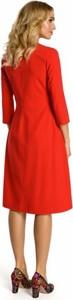 Sukienka MOE z okrągłym dekoltem z długim rękawem