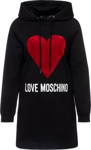 Czarna sukienka Love Moschino z nadrukiem w stylu casual mini
