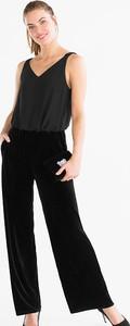 Czarny kombinezon YESSICA z szyfonu z długimi nogawkami