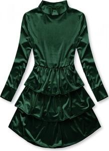 Zielona sukienka VaE z długim rękawem