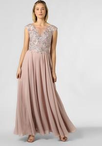 Sukienka Luxuar Fashion z dekoltem w kształcie litery v rozkloszowana z krótkim rękawem