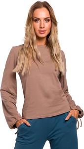 Bluzka MOE z długim rękawem w stylu casual z okrągłym dekoltem