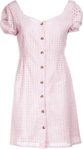 Różowa sukienka Multu mini z dekoltem w kształcie litery v