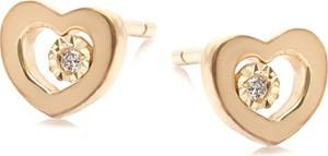 ANIA KRUK Kolczyki DIAMONDS złote 585 z brylantem i serduszkiem